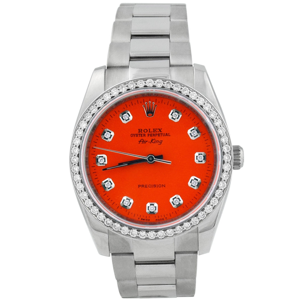 Rolex Unisex Air-King Stainless Steel 34mm Orange Diamond Dot Dial Watch Reference #: 114200 - Happy Jewelers Fine Jewelry Lifetime Warranty