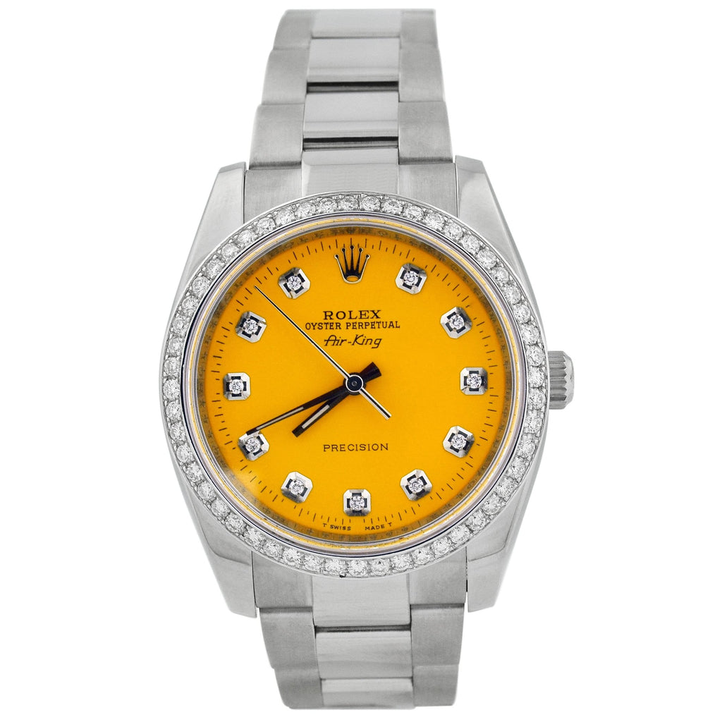 Rolex Unisex Air-King Stainless Steel 34mm Yellow Diamond Dot Dial Watch Reference #: 114200 - Happy Jewelers Fine Jewelry Lifetime Warranty