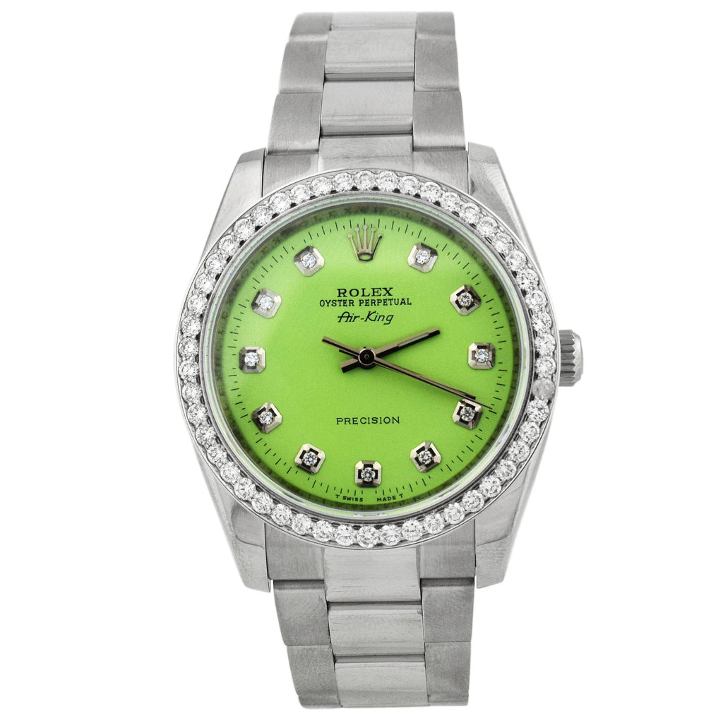 Rolex Unisex Air-King Stainless Steel 34mm Lime Green Diamond Dot Dial Watch Reference #: 114210 - Happy Jewelers Fine Jewelry Lifetime Warranty