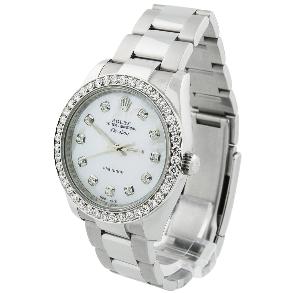 Rolex Unisex Air-King Stainless Steel 34mm MOP Diamond Dot Dial Watch Reference #: 14000 - Happy Jewelers Fine Jewelry Lifetime Warranty