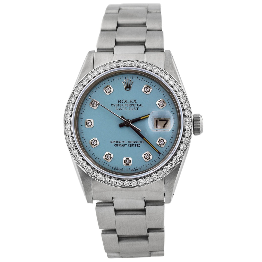 Rolex Unisex Datejust Stainless Steel 36mm Baby Blue Diamond Dial Watch Reference #: 1603 - Happy Jewelers Fine Jewelry Lifetime Warranty