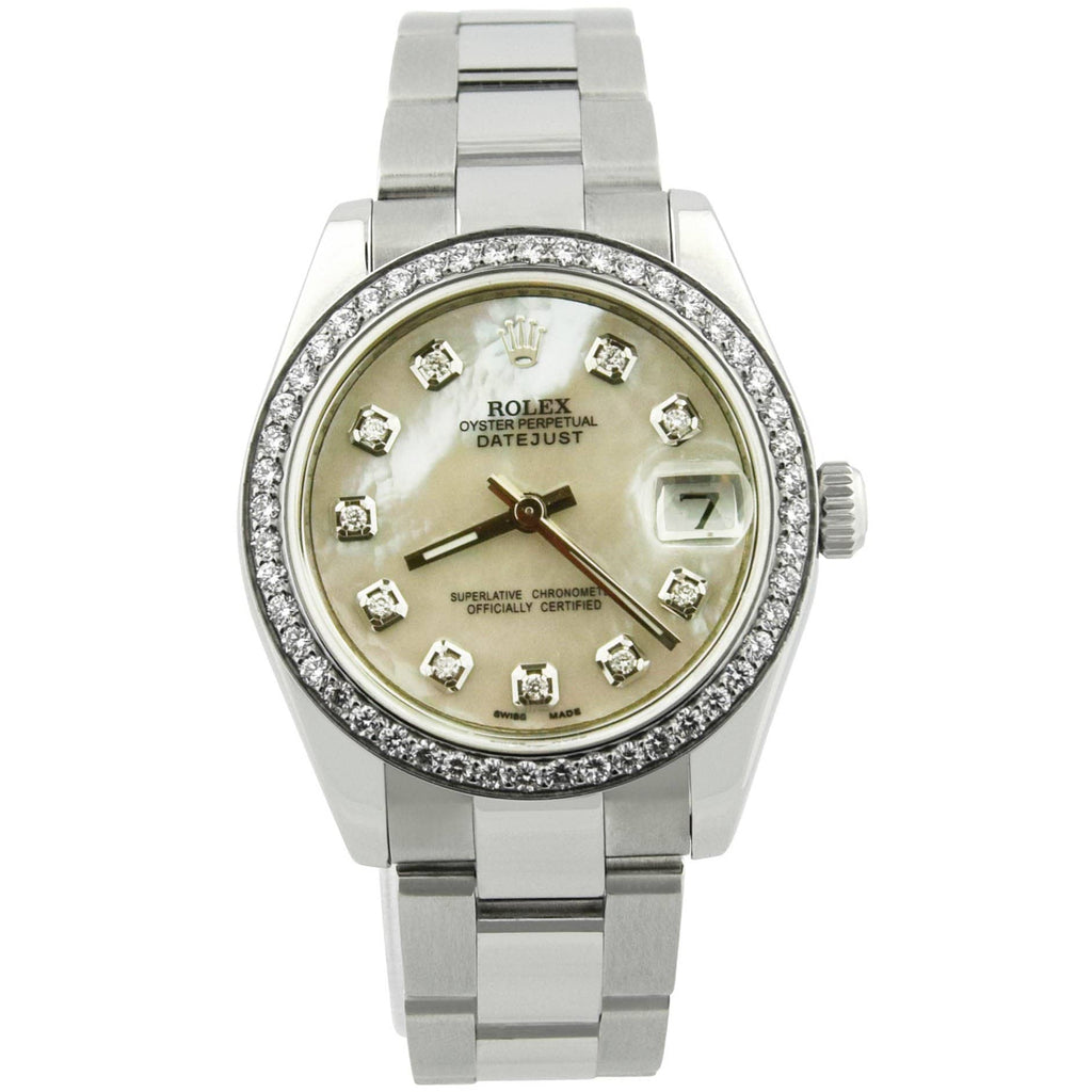Rolex Ladys Datejust Stainless Steel 31mm MOP Diamond Dot Dial Watch Reference #: 178240 - Happy Jewelers Fine Jewelry Lifetime Warranty