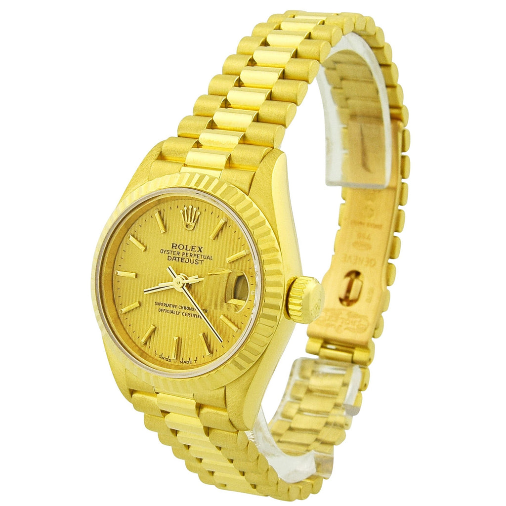 Rolex Ladys Datejust 18K Yellow Gold 26mm Champagne Stick Dial Watch Reference #: 69178 - Happy Jewelers Fine Jewelry Lifetime Warranty