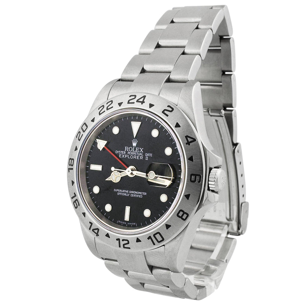 Rolex Mens Explorer II Stainless Steel 40mm Black Dot Dial Watch Reference #: 16570 - Happy Jewelers Fine Jewelry Lifetime Warranty