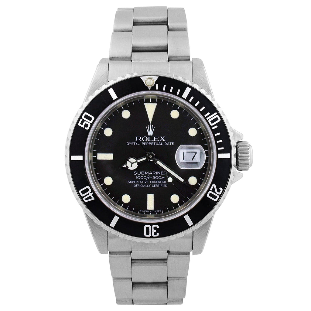 Rolex Mens Submariner Stainless Steel 40mm Black Dot Dial Watch Reference #: 168000 - Happy Jewelers Fine Jewelry Lifetime Warranty
