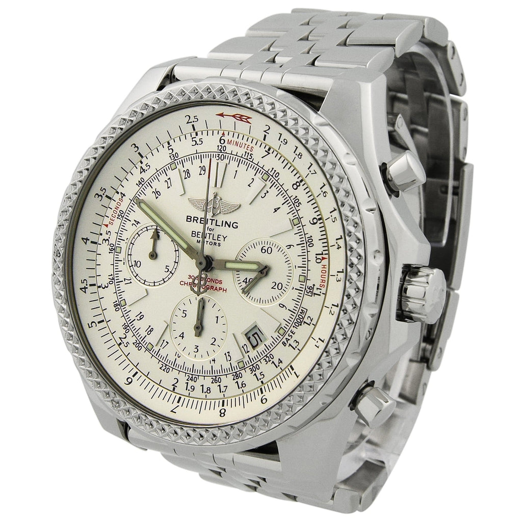Breitling Mens Bentley Motors Stainless Steel 49mm White Stick Dial Chronograph Watch Reference #: A25362 - Happy Jewelers Fine Jewelry Lifetime Warranty