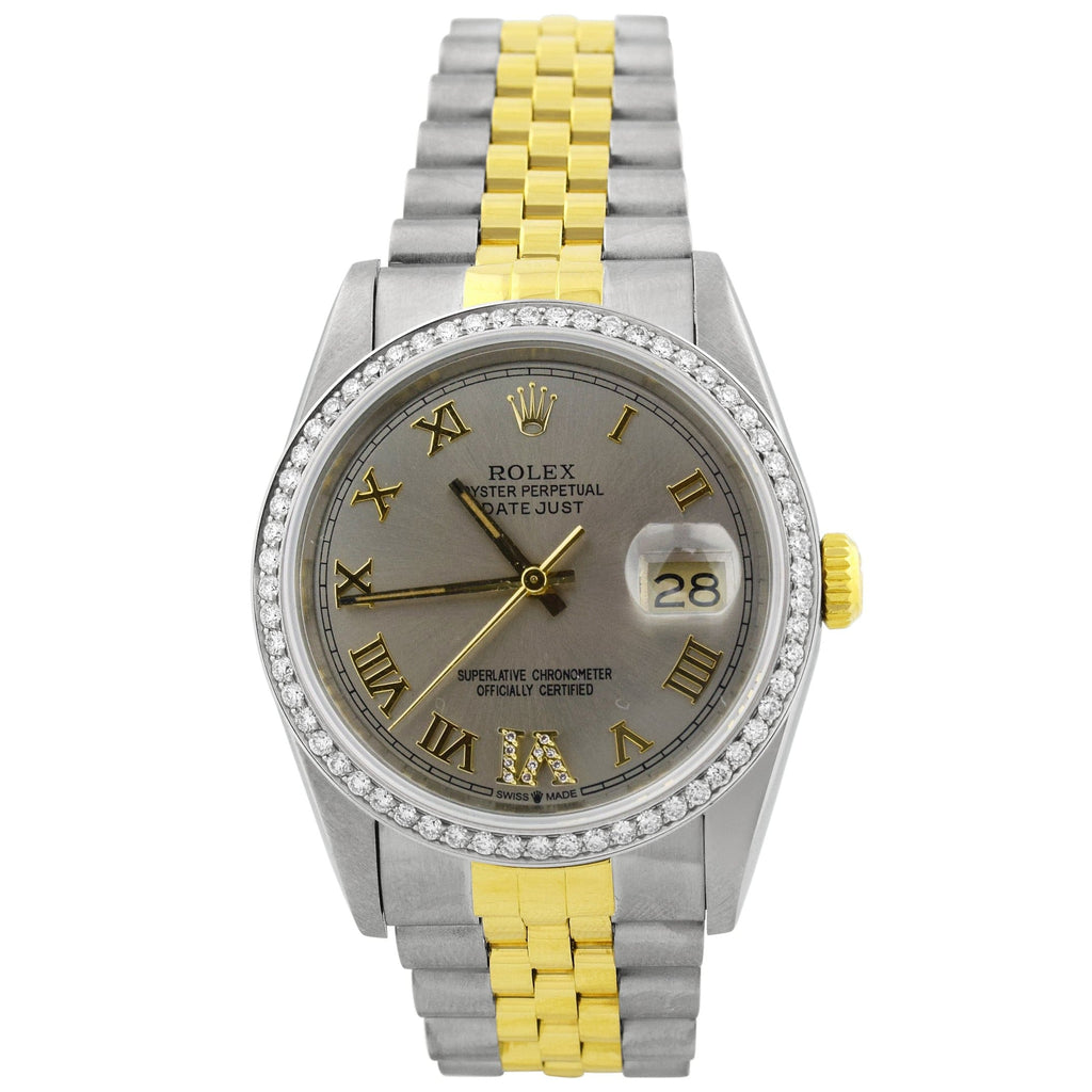 Rolex Unisex Datejust 18K Yellow Gold & Steel 36mm Silver Roman Dial Watch Reference #: 16233 - Happy Jewelers Fine Jewelry Lifetime Warranty