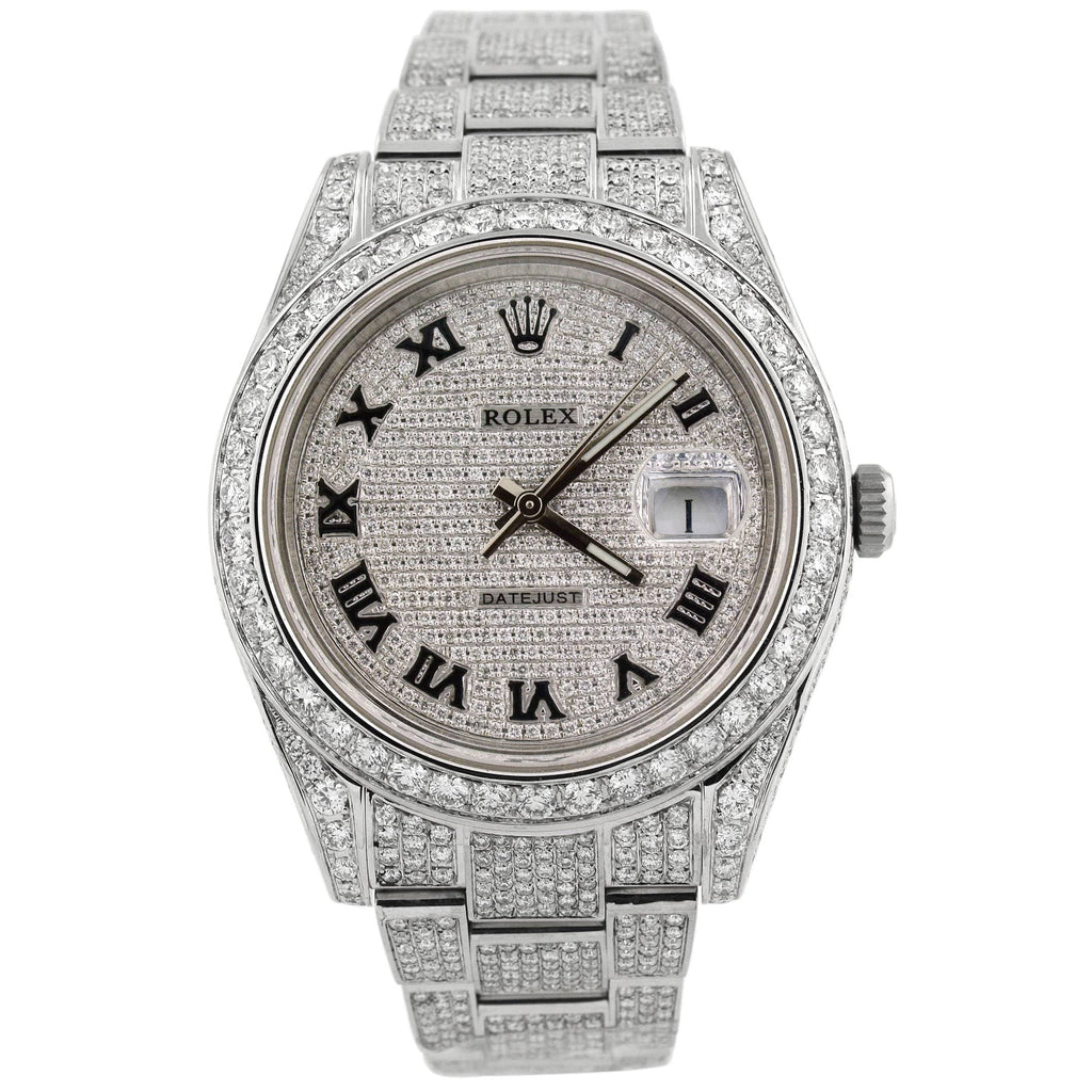 Rolex Unisex Iced Out Datejust Stainless Steel 41mm Pave Diamond Roman Dial Watch Reference #: 116300 - Happy Jewelers Fine Jewelry Lifetime Warranty