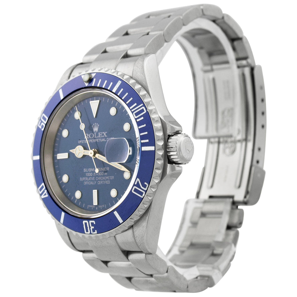 Rolex Mens Submariner Stainless Steel 41mm Blue Dot Dial Blue Bezel Watch Reference #: 16610T - Happy Jewelers Fine Jewelry Lifetime Warranty