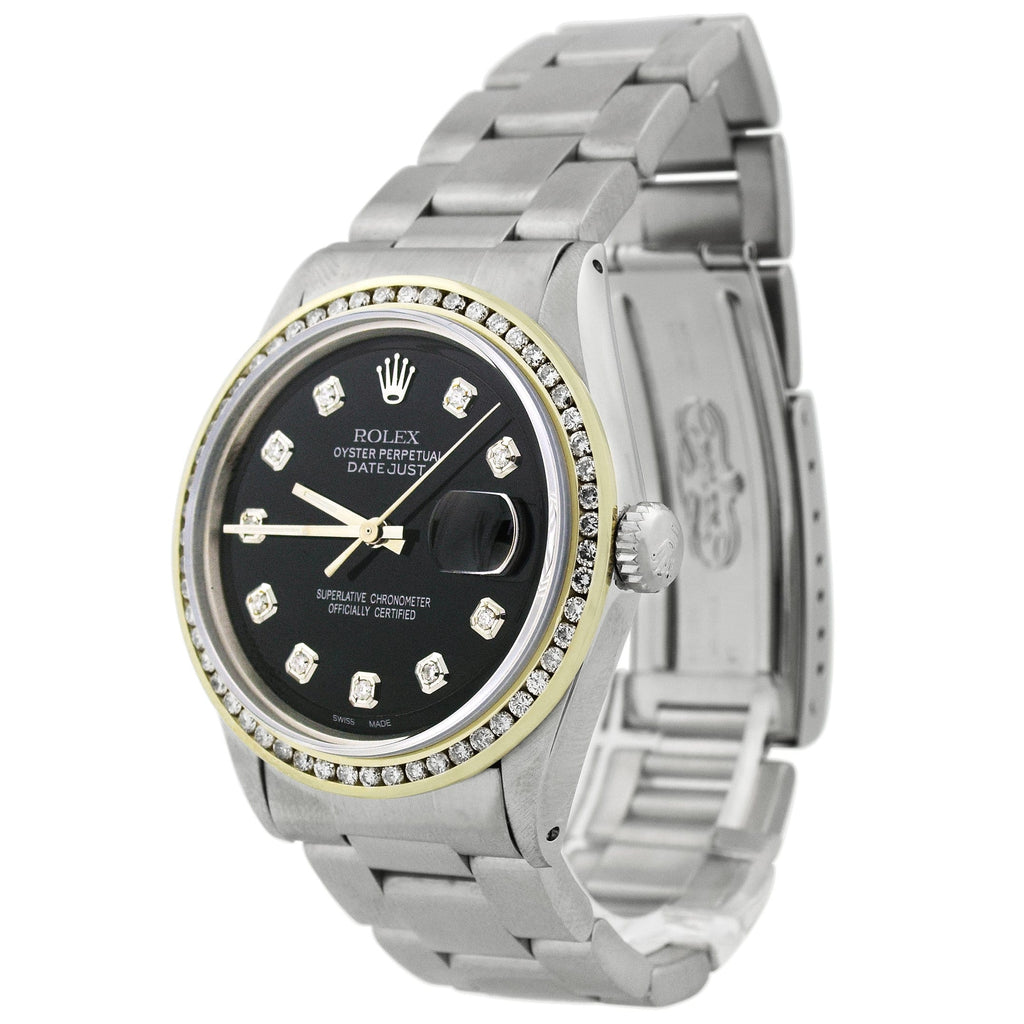 Rolex Ladys Datejust Stainless Steel 36mm Black Diamond Dot Dial Watch Reference #: 1601 - Happy Jewelers Fine Jewelry Lifetime Warranty