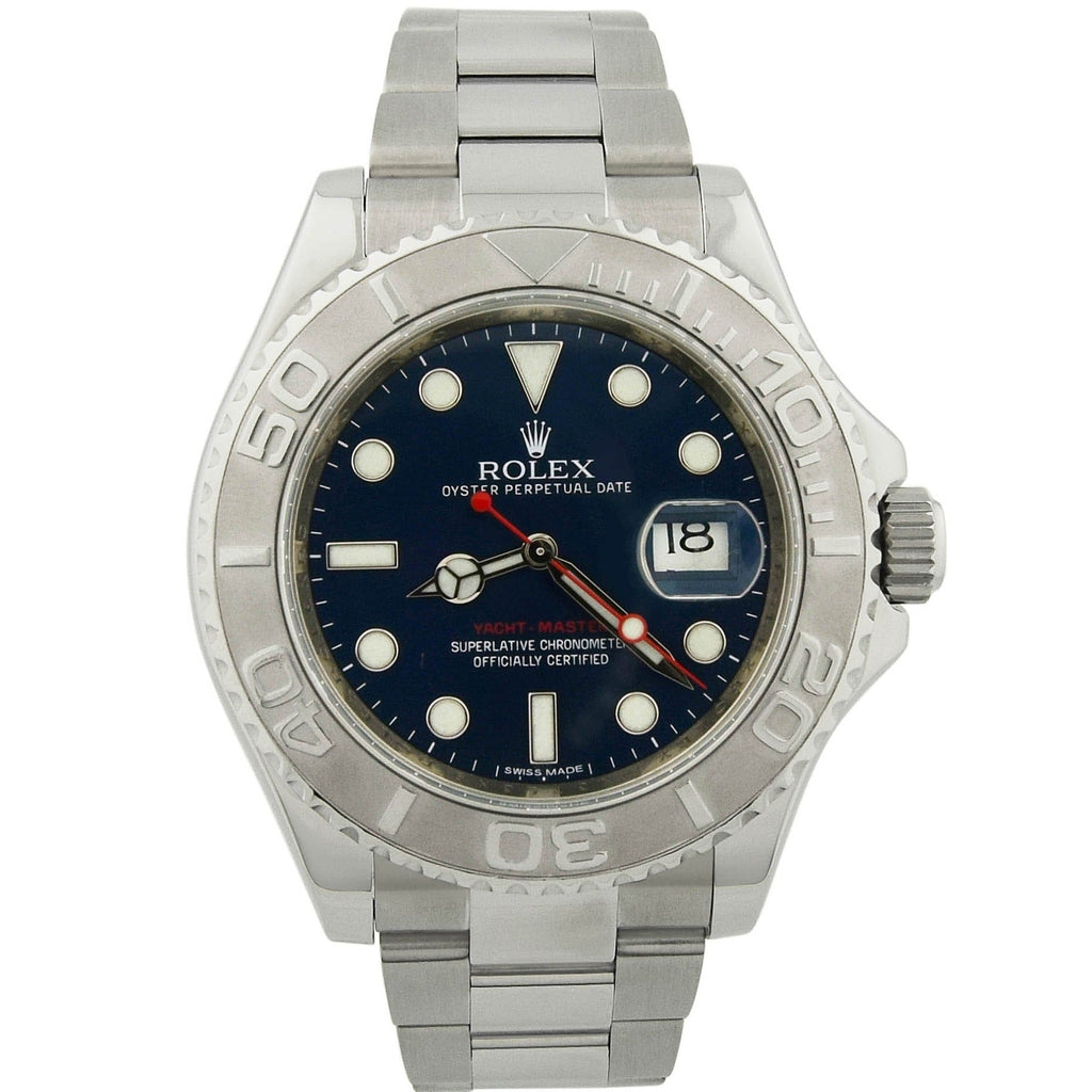 Rolex Mens Yacht-Master Stainless Steel 41mm Blue Dot Dial Watch Reference #: 116622 - Happy Jewelers Fine Jewelry Lifetime Warranty