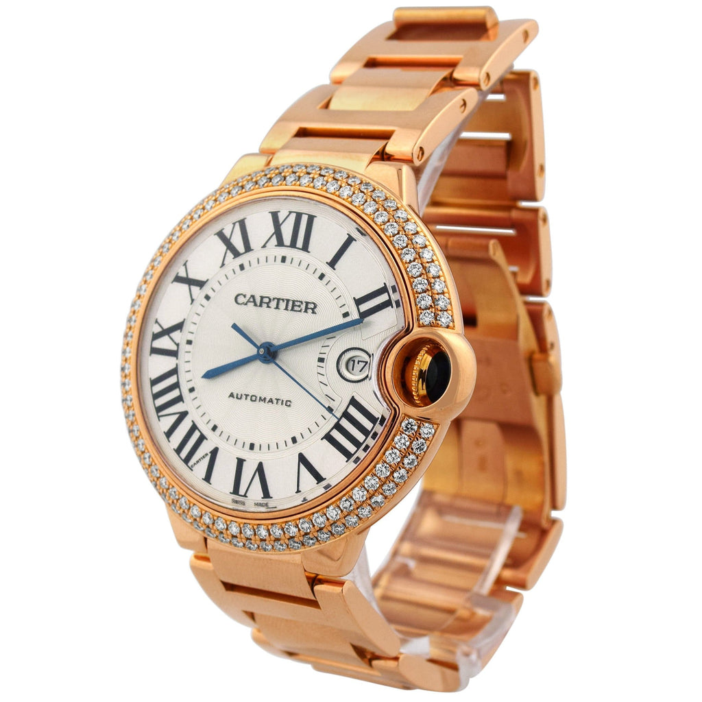 Cartier Unisex Ballon Blue 18K Rose Gold 42mm Silver Roman Dial Watch Reference #: 2999 - Happy Jewelers Fine Jewelry Lifetime Warranty