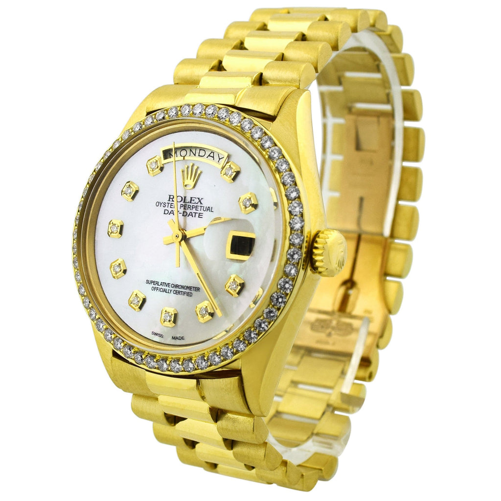 Rolex Unisex Day-Date 18K Yellow Gold 36mm MOP Diamond Dot Dial Watch Reference #: 18038 - Happy Jewelers Fine Jewelry Lifetime Warranty