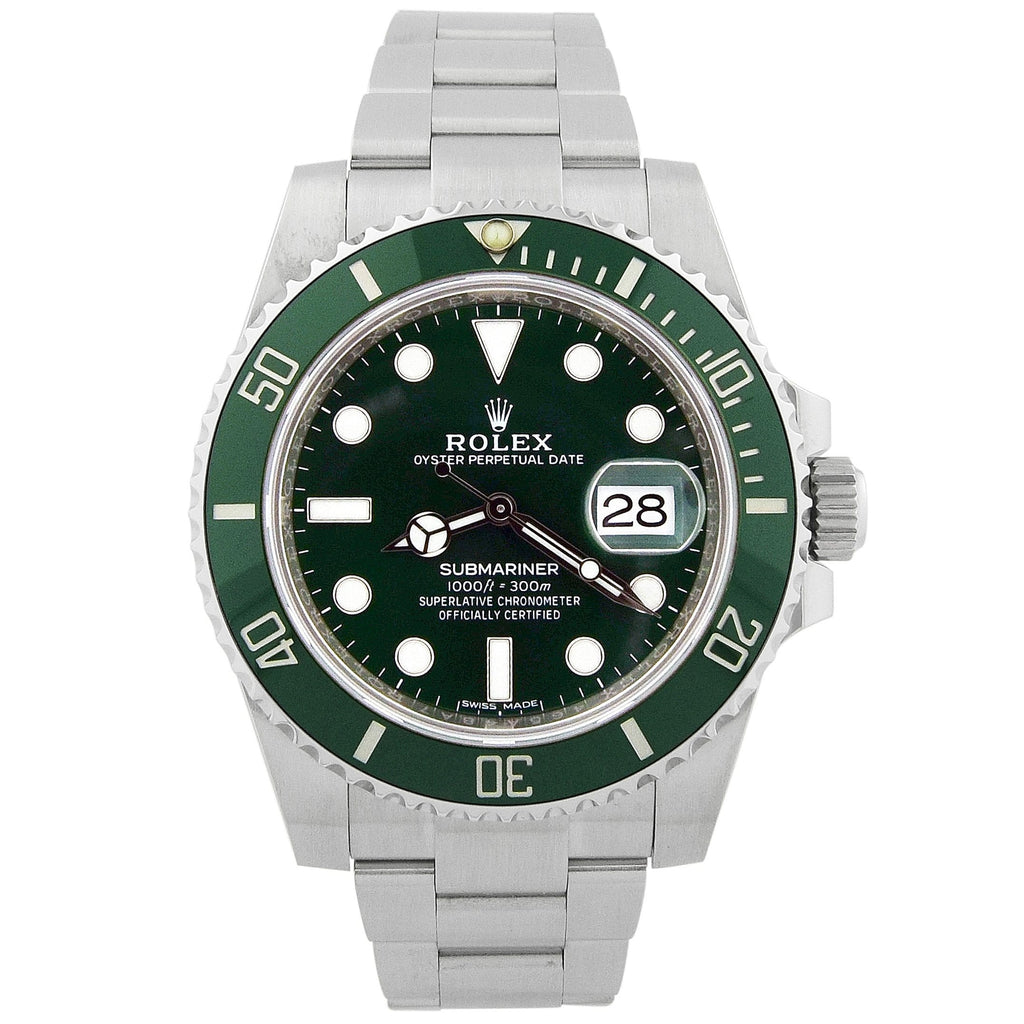 "Rolex Mens Submariner ""Hulk"" Stainless Steel 40mm Green Dot Dial Watch Reference #: 116610LV - Happy Jewelers Fine Jewelry Lifetime Warranty"