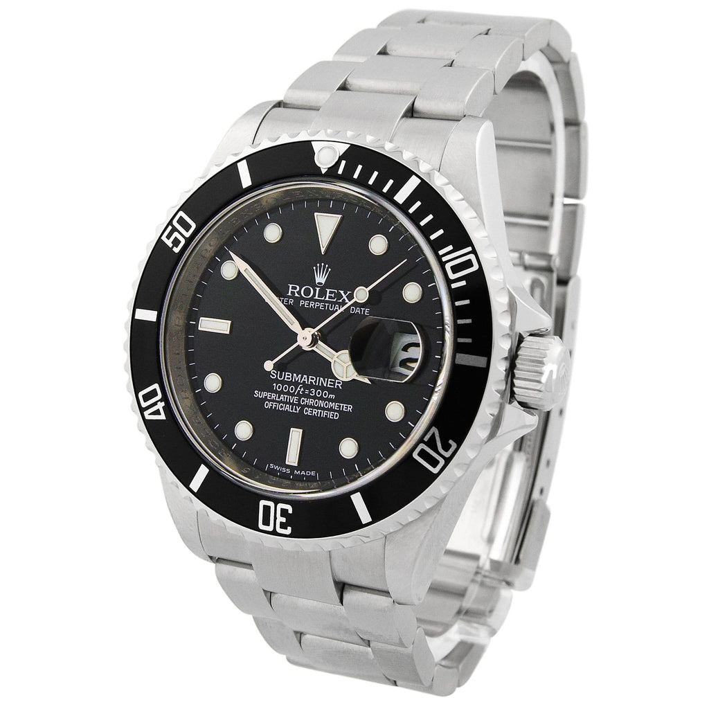 Rolex Mens Submariner Stainless Steel 40mm Black Dot Dial Watch Reference #: 16610T