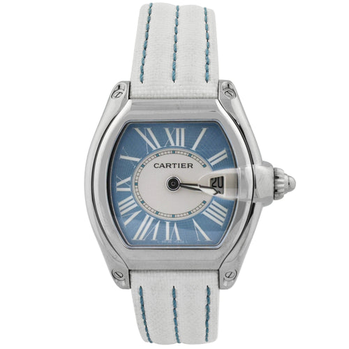 Cartier Ladys Roadster Stainless Steel 31mm Blue Roman Dial Watch Reference #: W62053V3 - Happy Jewelers Fine Jewelry Lifetime Warranty