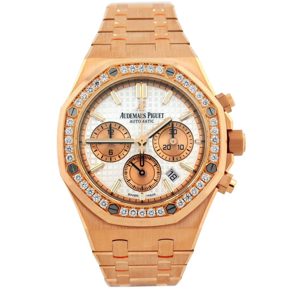 Audemars Piguet Ladys Royal Oak Offshore 18K Rose Gold 39mm White Stick Chronograph Dial Watch Reference #: 263150R.22.1256OR.01 - Happy Jewelers Fine Jewelry Lifetime Warranty