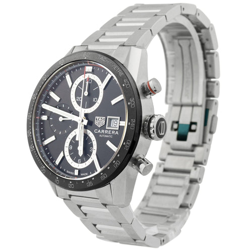 Tag Heuer Mens Carrera Stainless Steel 41mm Black Stick Chronograph Dial Watch Reference #: CBM2110.BA0651 - Happy Jewelers Fine Jewelry Lifetime Warranty