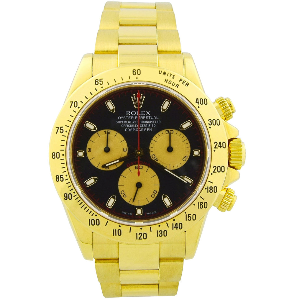 Rolex Mens Daytona 18K Yellow Gold 40mm Black Stick Dial Watch Reference #: 116528