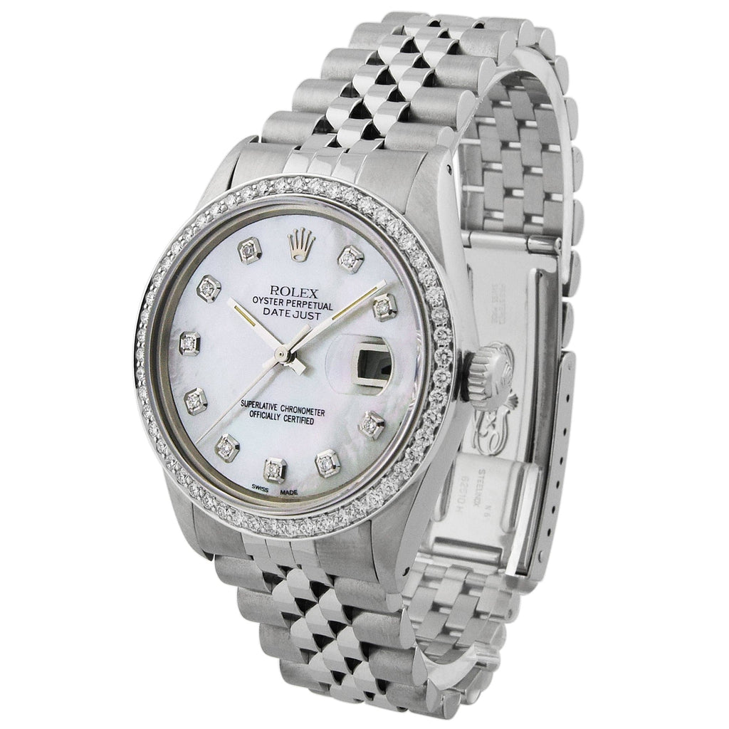 Rolex Unisex Datejust Stainless Steel 36mm MOP Diamond Dot Dial Watch Reference #:1601 - Happy Jewelers Fine Jewelry Lifetime Warranty