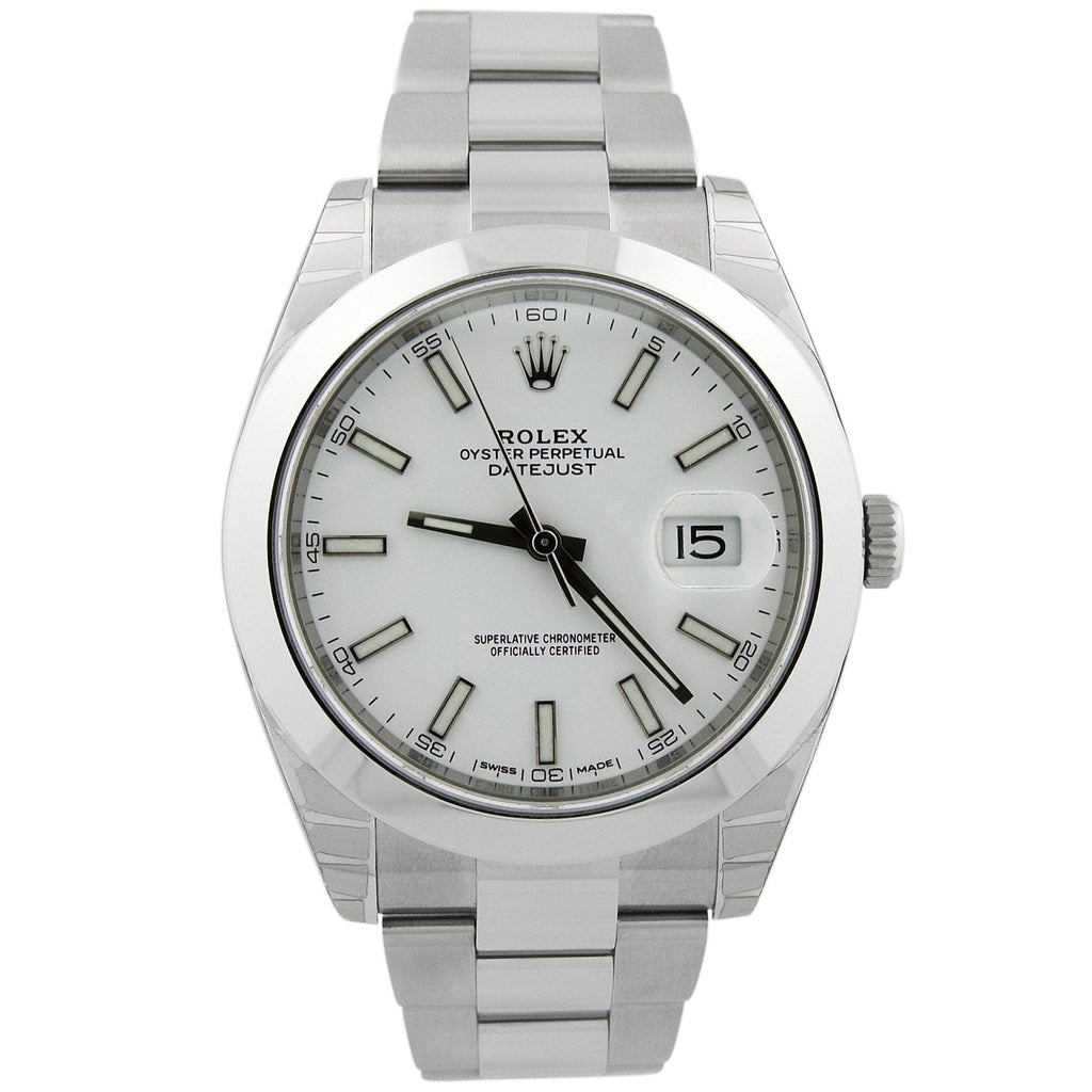 Rolex Mens Datejust Stainless Steel 41mm White Stick Dial Watch Reference #: 126300 - Happy Jewelers Fine Jewelry Lifetime Warranty