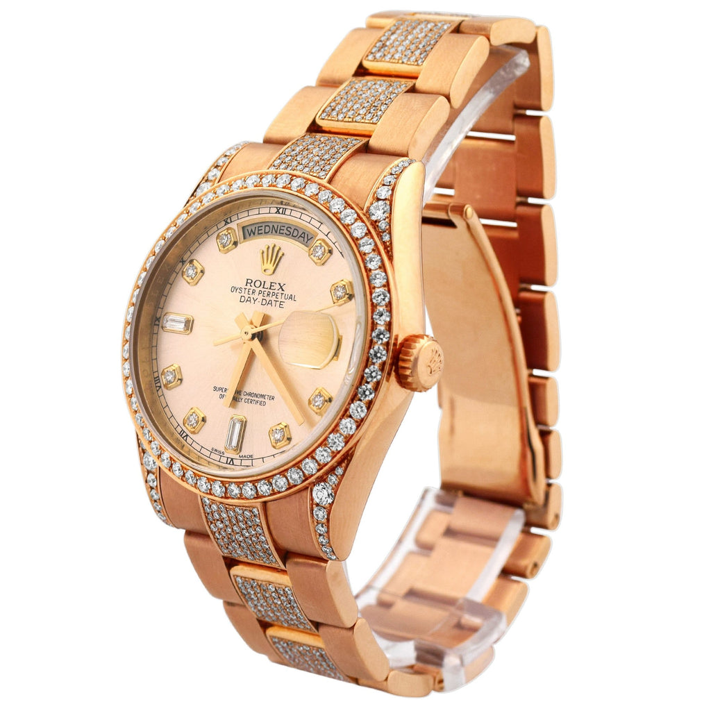 Rolex Mens Day-Date 18K Rose Gold 36mm Pink Champagne Diamond Dial Watch Reference #: 118205 - Happy Jewelers Fine Jewelry Lifetime Warranty