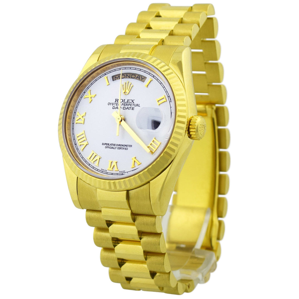 Rolex Mens Day-Date President 18K Yellow Gold 36mm White Roman Dial Watch Reference #: 118238 - Happy Jewelers Fine Jewelry Lifetime Warranty