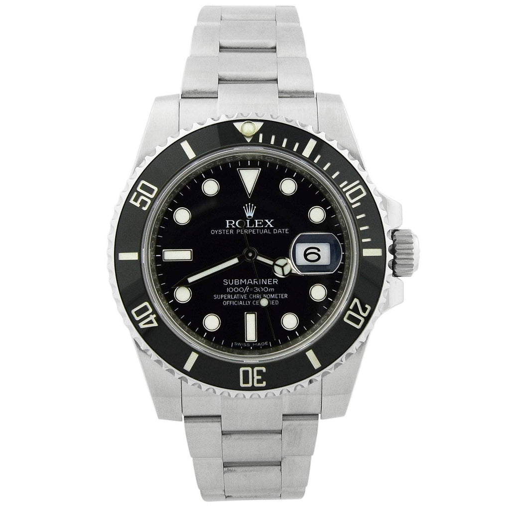 Rolex Mens Submariner Stainless Steel 40mm Black Dot Dial Watch Reference #: 116610