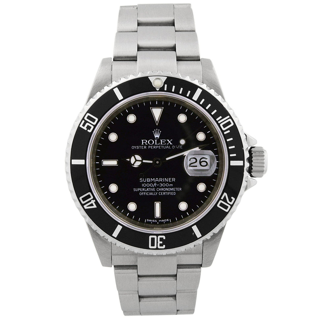 Rolex Mens Submariner Stainless Steel 40mm Black Dot Dial Watch Reference #: 16610