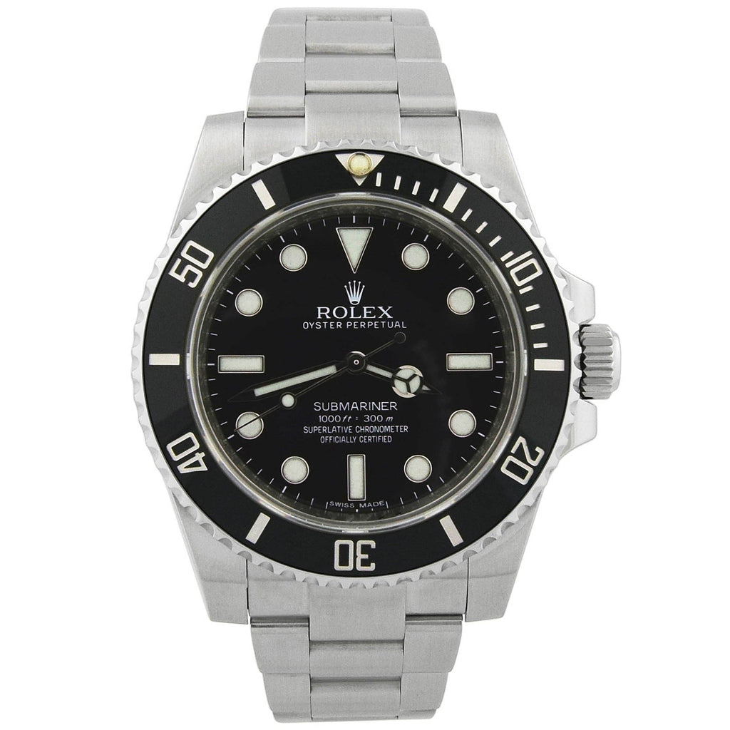 Rolex Mens Submariner No Date Stainless Steel 40mm Black Dot Dial Watch Reference #: 14060