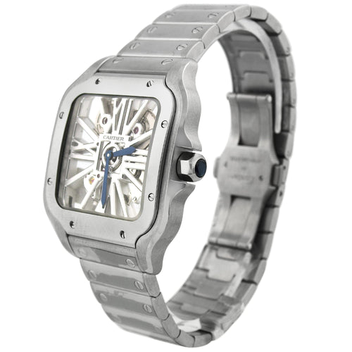 Cartier Mens Santos Stainless Steel 39.8mm Skeleton Roman Dial Watch Reference #: WHSA0015 - Happy Jewelers Fine Jewelry Lifetime Warranty