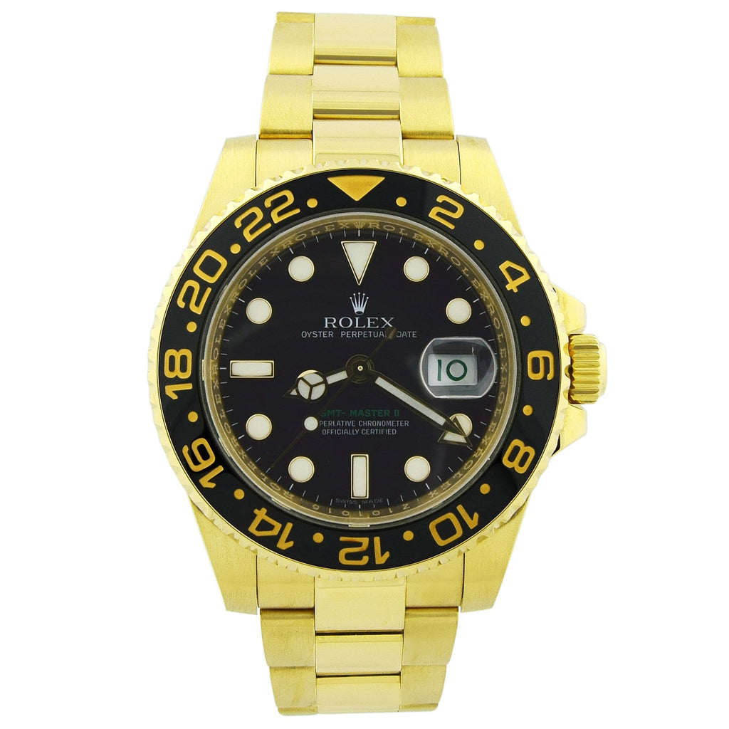 Rolex Mens GMT-Master II 18K Yellow Gold 40mm Black Dot Dial Watch Reference #: 116718 - Happy Jewelers Fine Jewelry Lifetime Warranty
