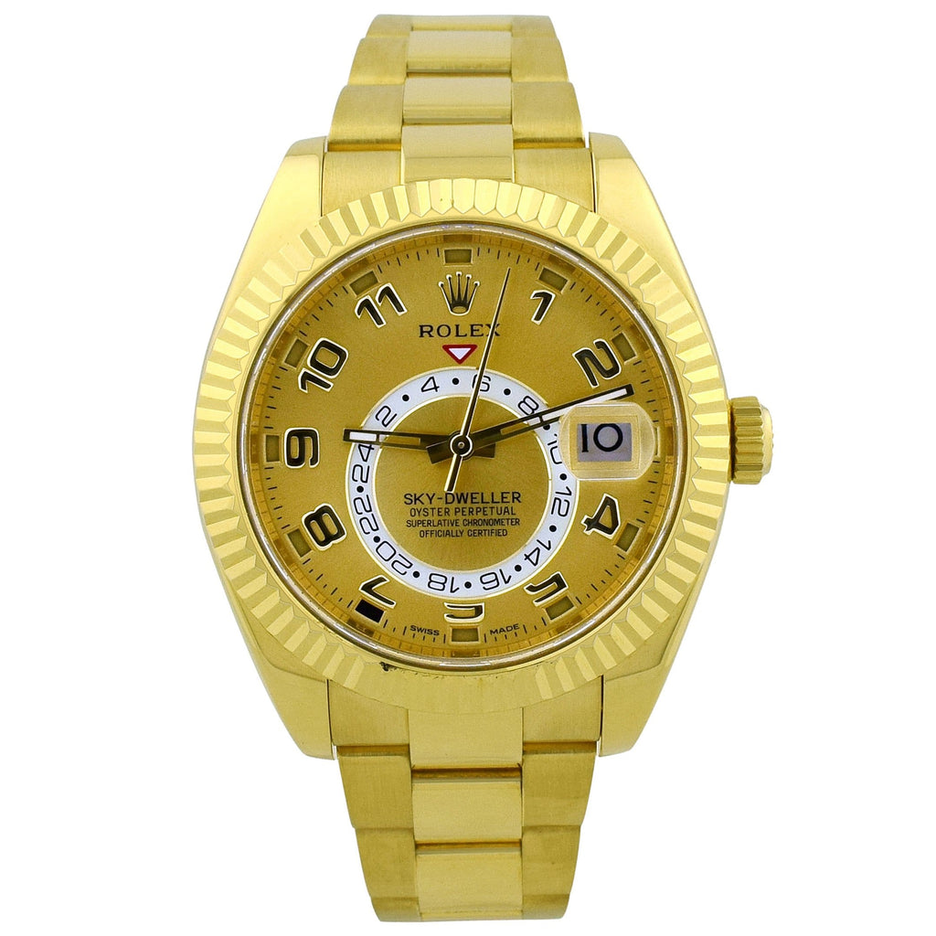 Rolex Mens Sky-Dweller 18K Yellow Gold 42mm Champagne Arabic Dial Watch Reference #: 326938 - Happy Jewelers Fine Jewelry Lifetime Warranty
