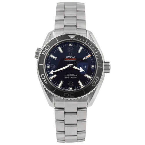 Omega Mens Seamasater Planet Ocean Stainless Steel 37.50mm Black Stick & Arabic Dial Watch Reference #: 232.30.38.20.01.001 - Happy Jewelers Fine Jewelry Lifetime Warranty