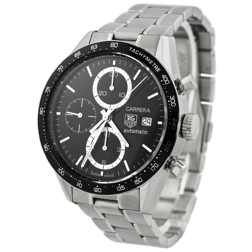Tag Heuer Mens Carrera Stainless Steel 41mm Black Stick Chronograph Dial Watch Reference #: CV2010.BA0794 - Happy Jewelers Fine Jewelry Lifetime Warranty