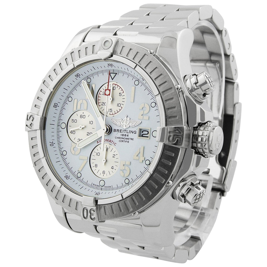 Breitling Mens Super Avenger Stainless Steel 48mm White Arabic Dial Watch Reference #: A13370 - Happy Jewelers Fine Jewelry Lifetime Warranty