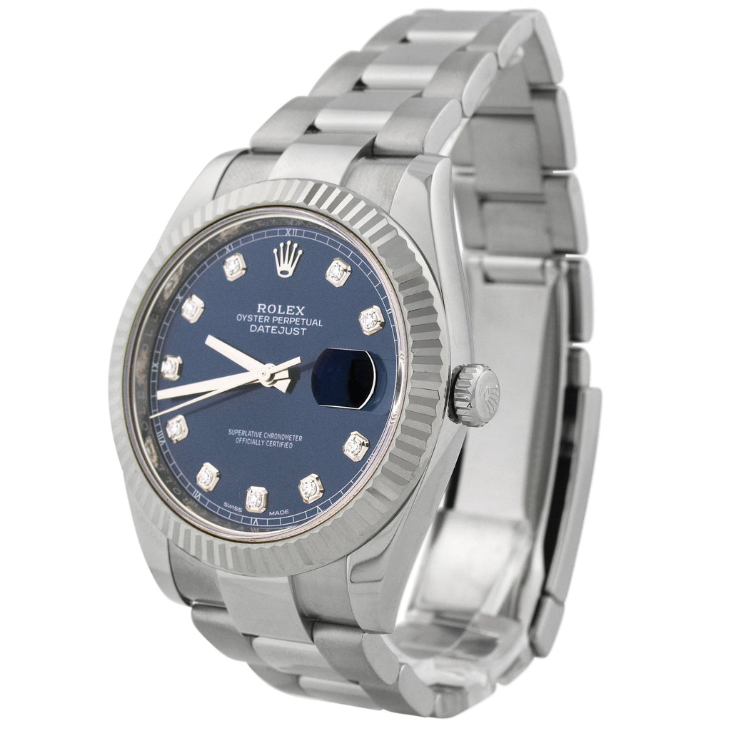 Rolex Mens Datejust Stainless Steel 41mm Blue Diamond Dot Dial Watch Reference #: 126334 - Happy Jewelers Fine Jewelry Lifetime Warranty
