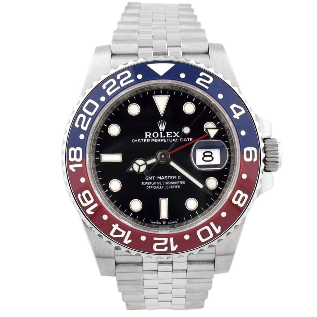 Rolex Mens GMT-Master II Pepsi Stainless Steel 40mm Black Dot Dial Watch Reference #: 126710BLRO - Happy Jewelers Fine Jewelry Lifetime Warranty