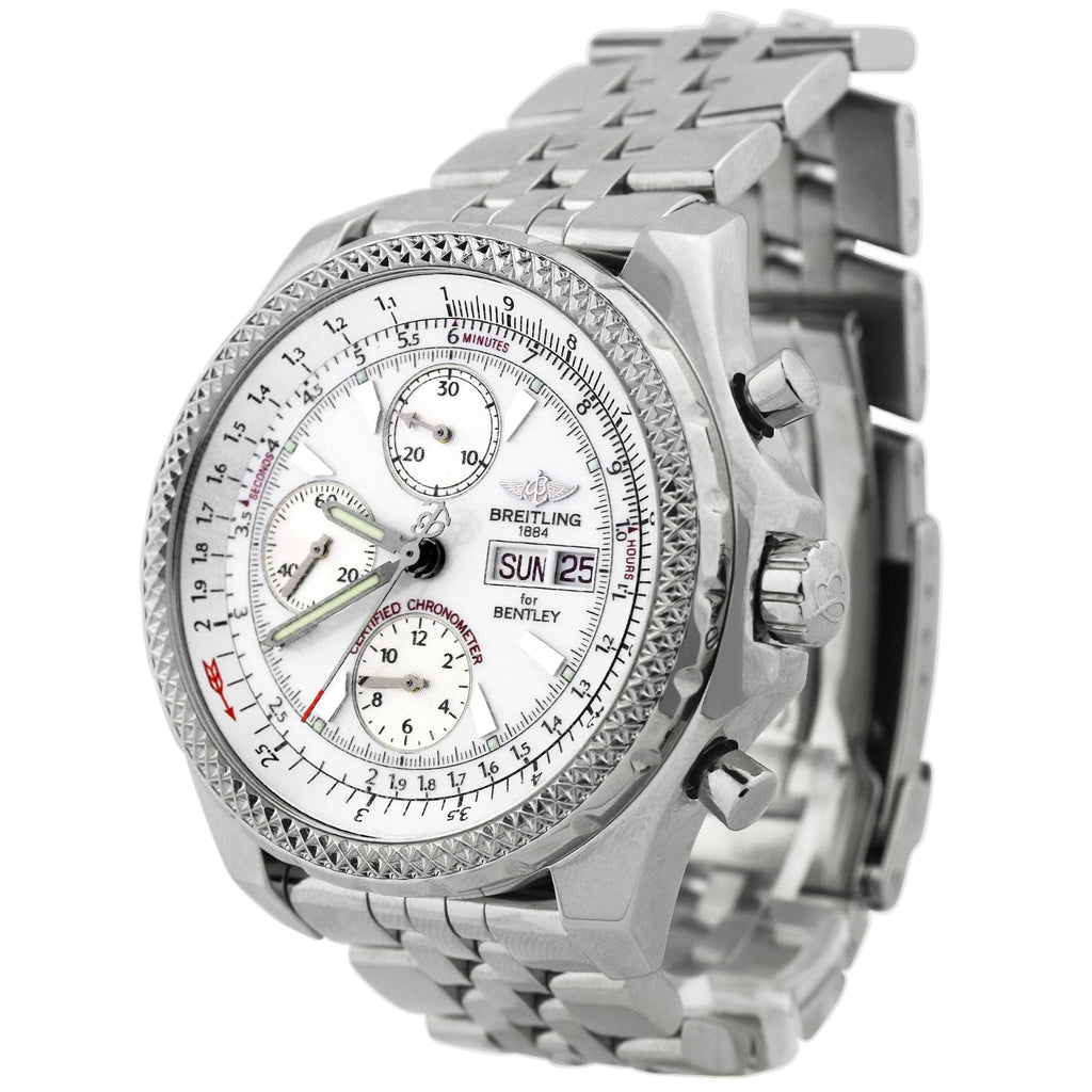 Breitling Mens Bentely Motors Stainless Steel 44.8mm White Stick Dial Chronograph Watch Reference #: A13362 - Happy Jewelers Fine Jewelry Lifetime Warranty