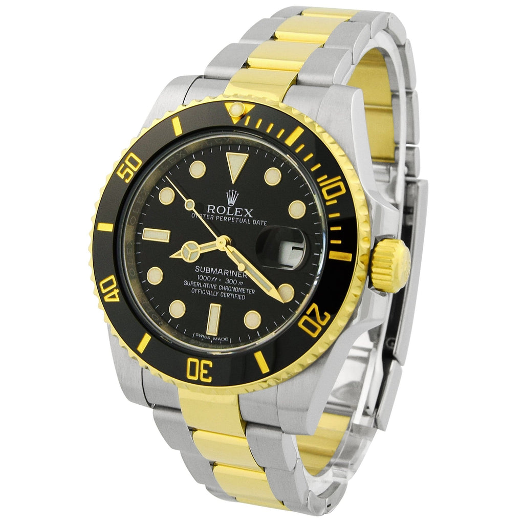 Rolex Mens Submariner 18K Yellow Gold & Steel 41mm Black Dot Dial Watch Reference #: 126613LN - Happy Jewelers Fine Jewelry Lifetime Warranty