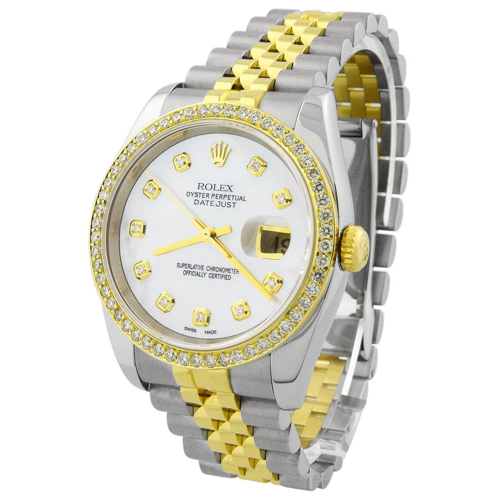 Rolex Unisex Datejust 18K Yellow Gold & Steel 36mm MOP Diamond Dot Dial Watch Reference #: 116233 - Happy Jewelers Fine Jewelry Lifetime Warranty