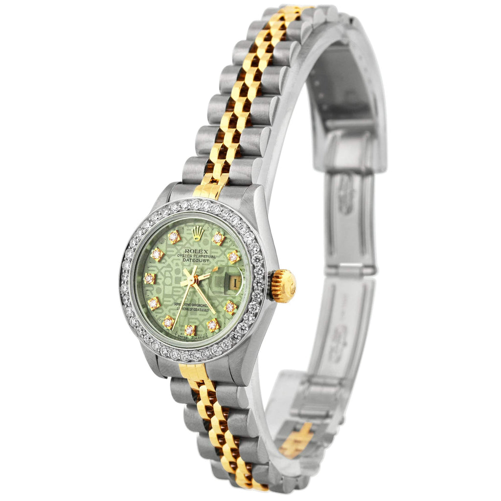 Rolex Unisex Datejust 18K Yellow Gold & Steel 26mm Green Rolex Print Dial Watch Reference #: 69173 - Happy Jewelers Fine Jewelry Lifetime Warranty
