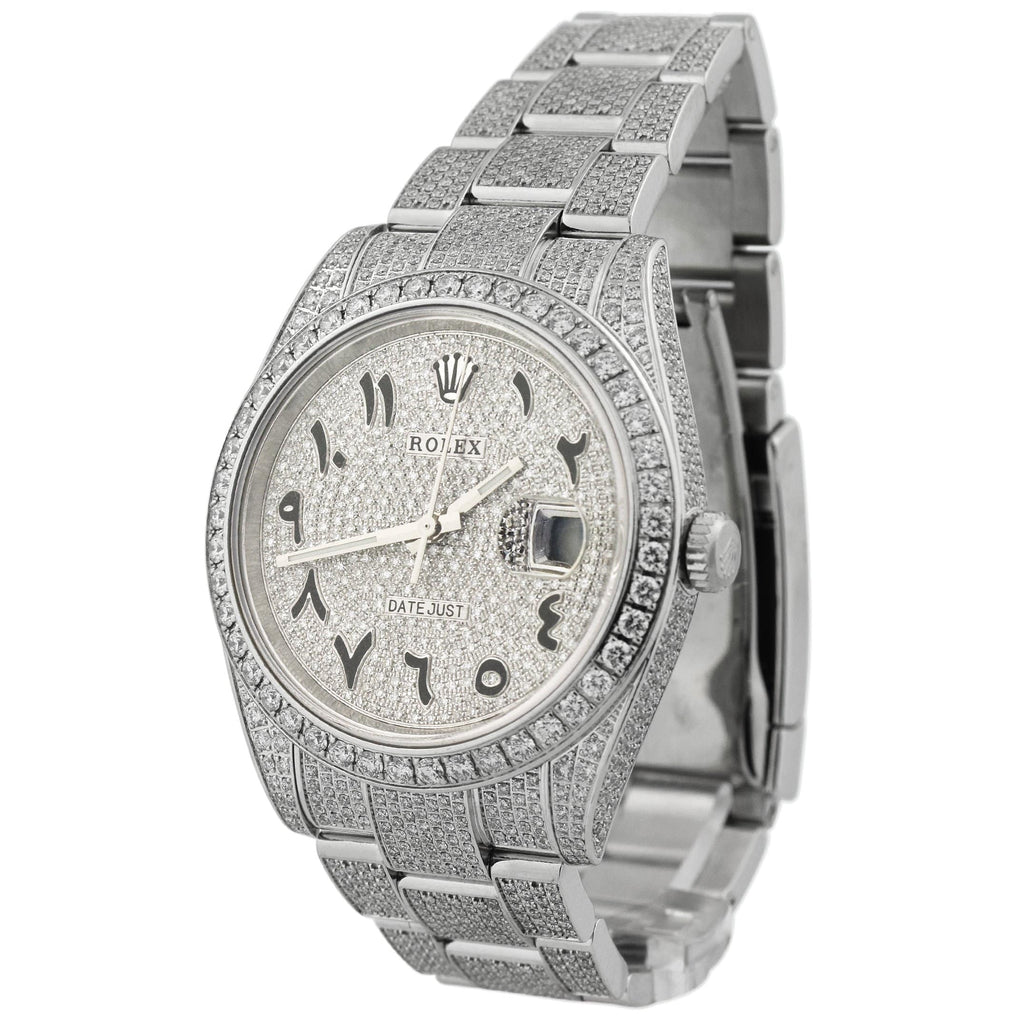 Rolex Unisex Iced Out Datejust Stainless Steel 41mm Pave Diamond Arabic Script Dial Watch Reference #: 126300 - Happy Jewelers Fine Jewelry Lifetime Warranty