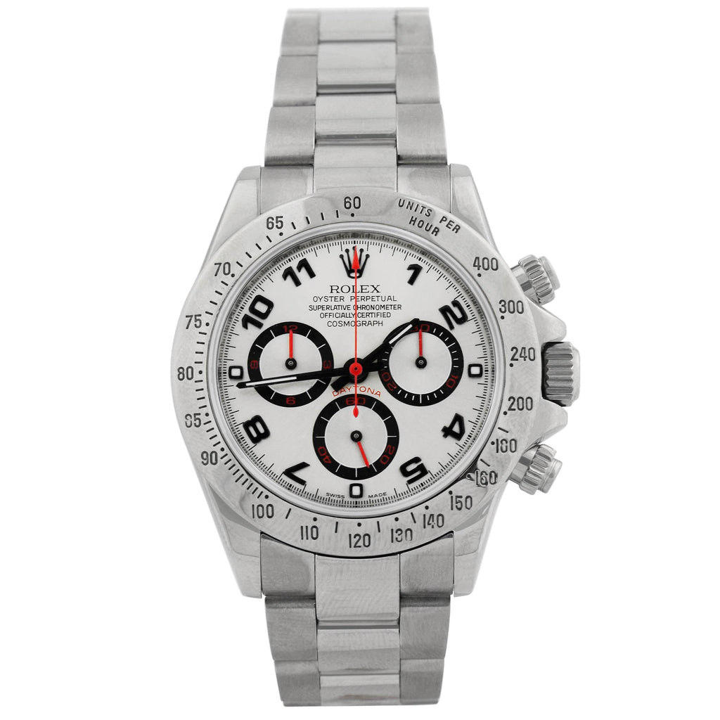 Rolex Mens Daytona Stainless Steel 40mm Silver Arabic Dial Watch Reference #: 116520 - Happy Jewelers Fine Jewelry Lifetime Warranty