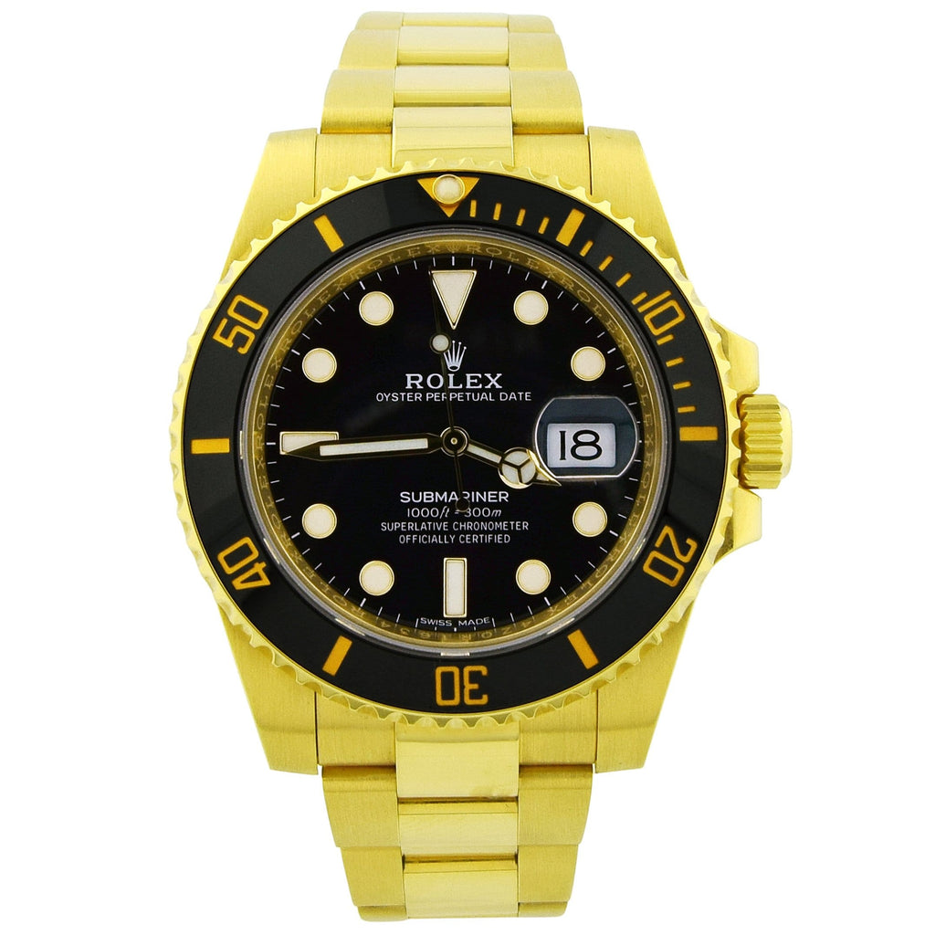 Rolex Mens Submariner 18K Yellow 41mm Black Dot Dial Watch Reference #: 11618 - Happy Jewelers Fine Jewelry Lifetime Warranty