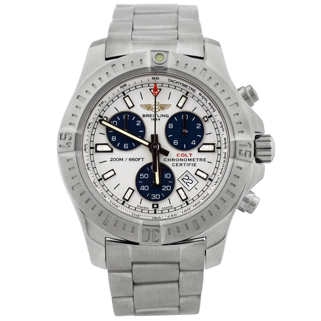 Breitling Mens Colt Chronograph Stainless Steel 44mm White Stick Dial Watch Reference #: A73388 - Happy Jewelers Fine Jewelry Lifetime Warranty