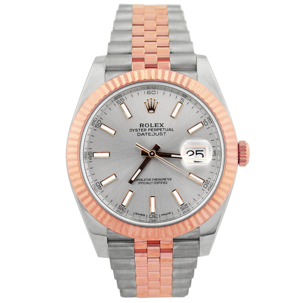 Rolex Mens Datejust 18K Rose Gold & Steel 41mm Silver Stick Dial Watch Reference #: 126331