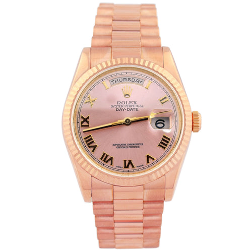 Rolex Unisex Day-Date 18K Pink Gold 36mm Pink Champagne Roman Dial Watch Reference #: 118235 - Happy Jewelers Fine Jewelry Lifetime Warranty