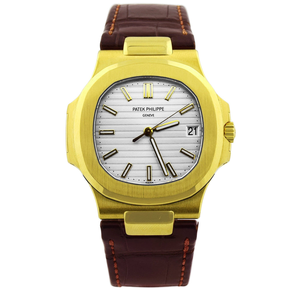 Patek Philippe Unisex Nautilus 18K Yellow Gold 40mm Silver Baton Dial Watch Reference #: 5711J