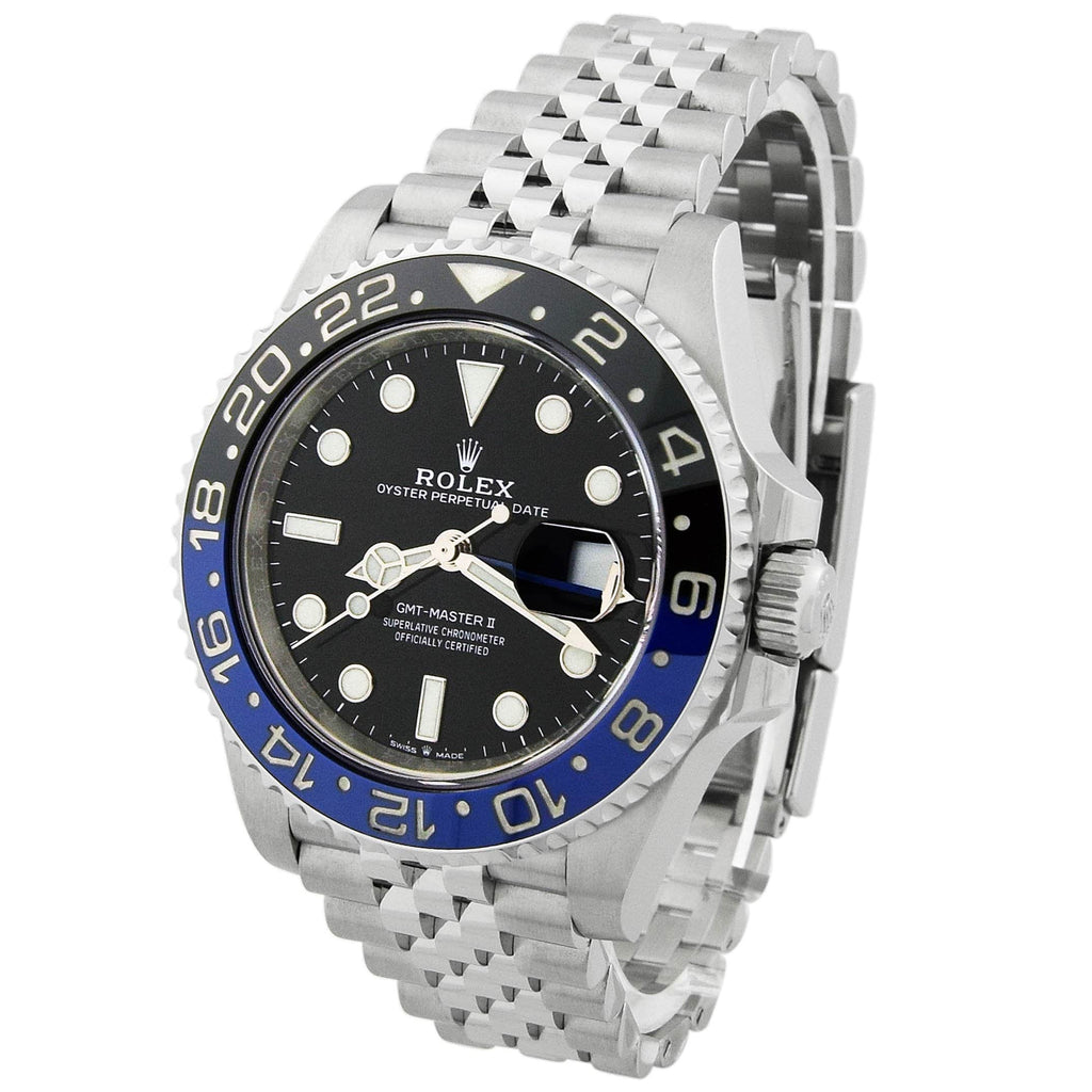 Rolex Mens GMT-Master II Batman Stainless Steel 40mm Black Dot Dial Watch Reference #: 126710BLNR